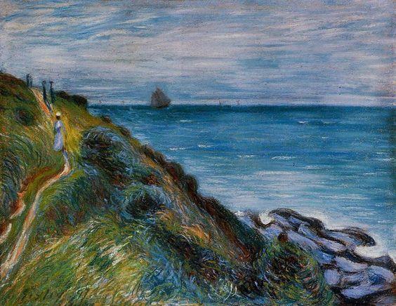 'Auf den Klippen, Langland Bay, Wales', pastell von Alfred Sisley (1839-1899, France)