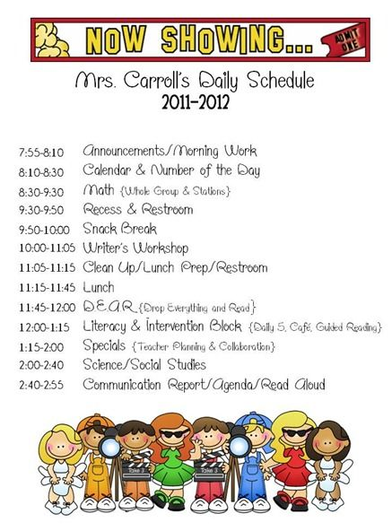Cute daily schedule Homeschool and Kids Room Decorating - sample schedules - class schedule