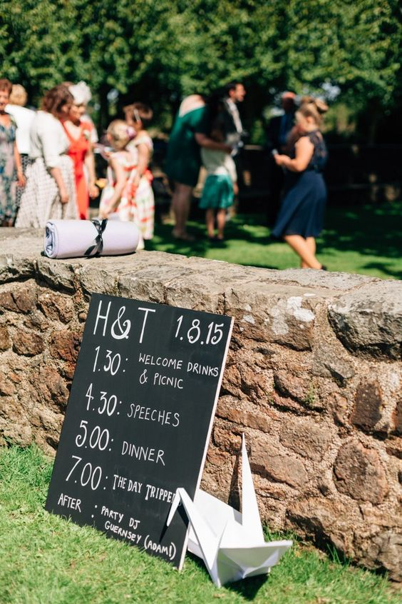 Chalk Board Black Sign Paper Crane Bohemian Origami Guernsey Wedding http://janiceyiphotography.ca/: