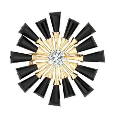 The Collection Jet and gold starburst brooch- | Debenhams