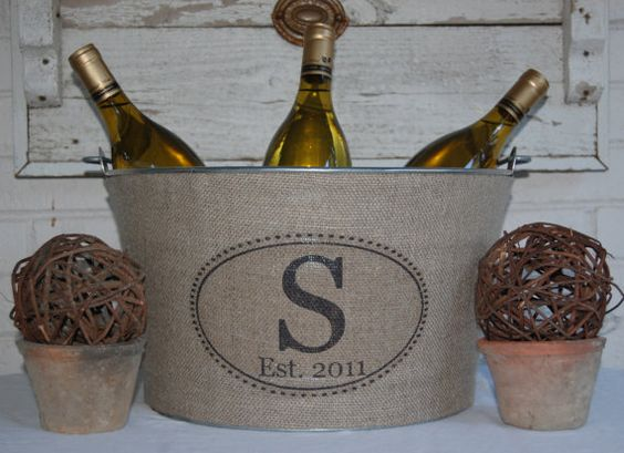 burlap covered ice bucket
