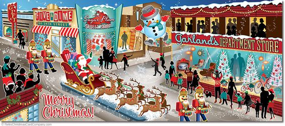 Santa Claus is coming to town on these Christmas Parade Cards. The whole town is starting to turn out to see the parade as it marches down main street! 8 cards & envelopes $13.00 | Folded Card Size 4.0″x 9.25″