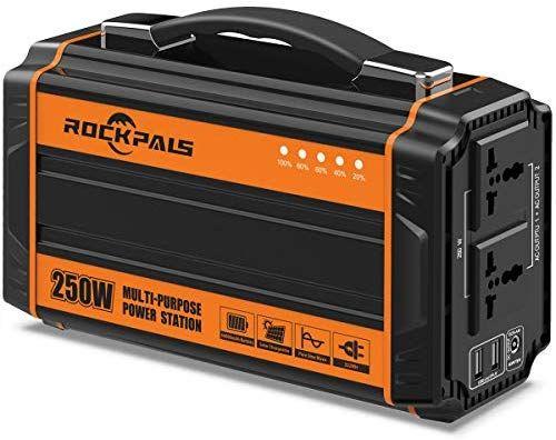 Amazon Com Rockpals 250 Watt Portable Generator Rechargeable Lithium Battery Pack Solar Ge Portable Solar Generator Portable Generator Solar Powered Generator