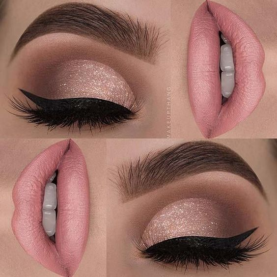 Creamy Peachy Beige Lip Color Rose Gold And Brown Eyeshadow