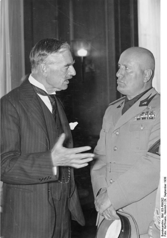Neville Chamberlain and Benito Mussolini at the Führerbau building in München, Germany, 19 Sep 1938, photo 2 of 2:
