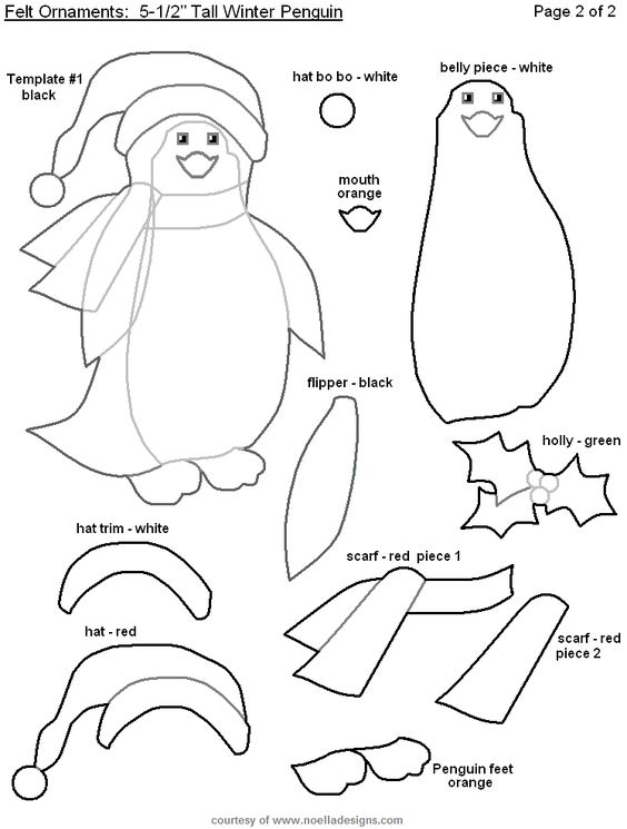 PINGUINO Felt penguin ornament pattern MANUALIDADES - Fieltro - penguin template