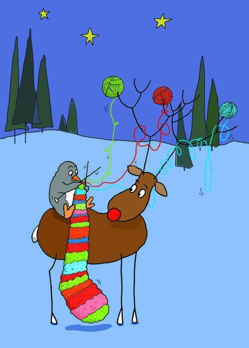 Louise C Bergeron   Illustration Quebec  art christmas  penguin knitting scarf  snow woods  deer  canada