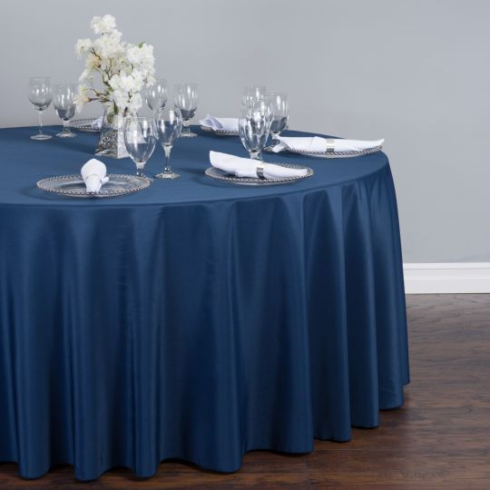 132 In Round Polyester Tablecloth Navy Blue Wedding Table