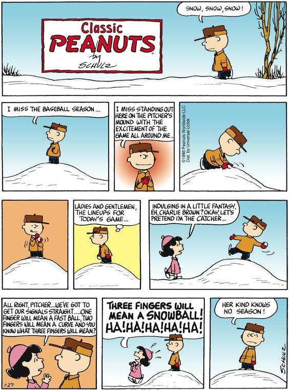 Ready for baseball season. Peanuts on GoComics.com #humor #comics #Peanuts #CharlieBrown #Snow #Baseball #Winter