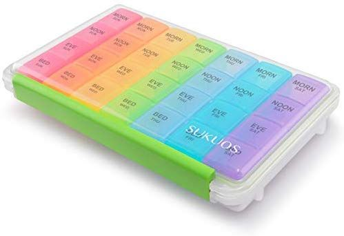 Amazon Com Weekly Pill Organizer 7 Day 4 Times A Day Sukuos