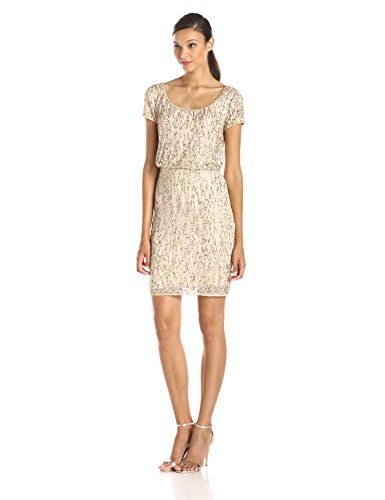 Adrianna Papell Women&-39-s Beaded Blouson Cocktail Dress with Linear ...