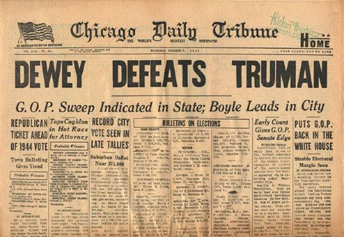 The famous Dewy defeats Truman newspaper stamped in the corner sold at Hickey Brothers Cigar store