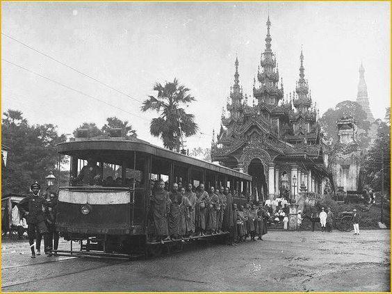 front of Shwe Ta Gon Pagoda, Yangon, Myanmar. 1905.