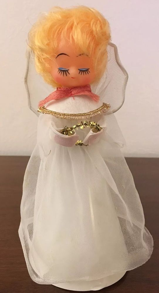 Vintage Christmas Plastic Cone Angel Net Overlay Dress Tree Topper