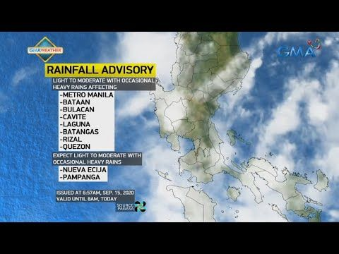 Ub Weather Update As Of 7 03 A M September 15 2020 Youtube Weather Update Weather Bulacan