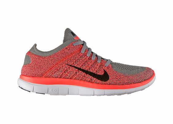 Nike Womens Nike Free 4.0 Flyknit Running Shoe, Light Charcoal