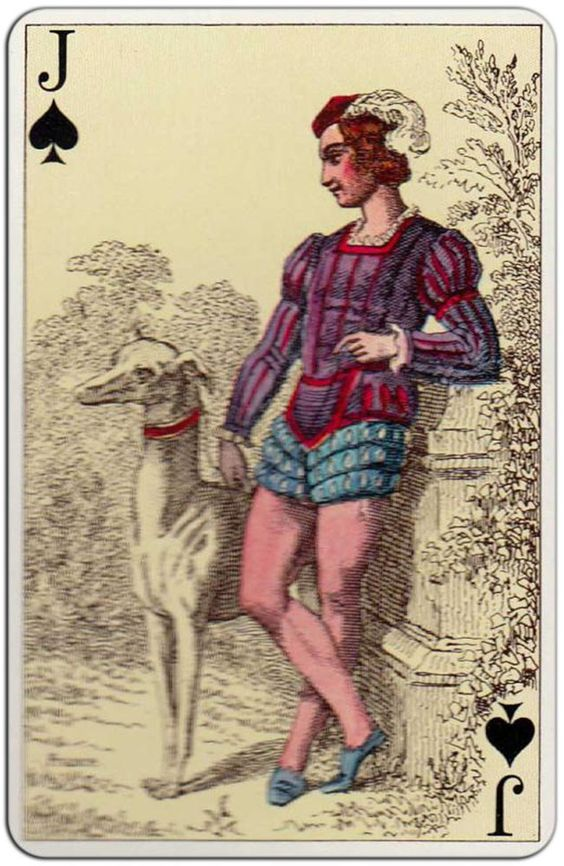 #PlayingCardsTop1000 – French Costumes 1850 reprint Gibert France Fournier – Jack of spades