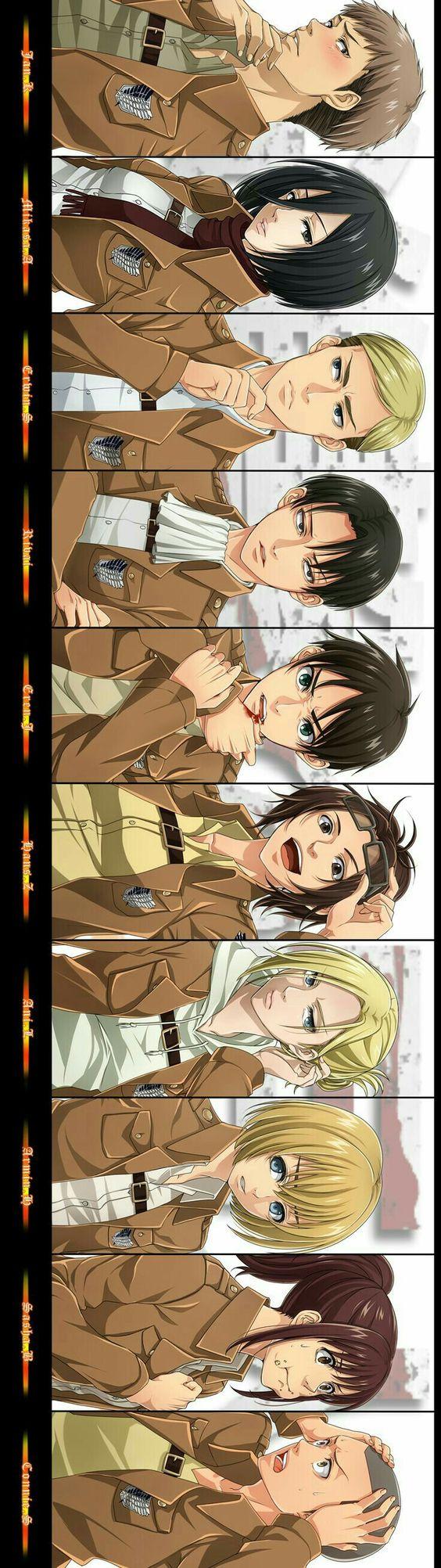 Jean, Mikasa, Erwin, Levi, Eren, Hanji, Annie, Armin, Sasha, Connie, text, funny, blushing, cool; Attack on Titan