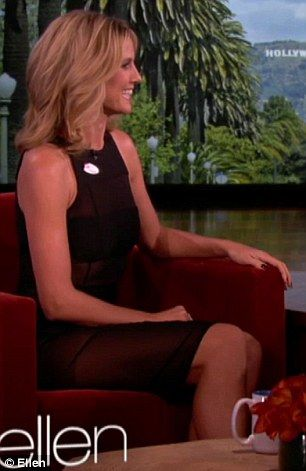Heidi Klum in see-though black band dress at Ellen Degeneres Show today