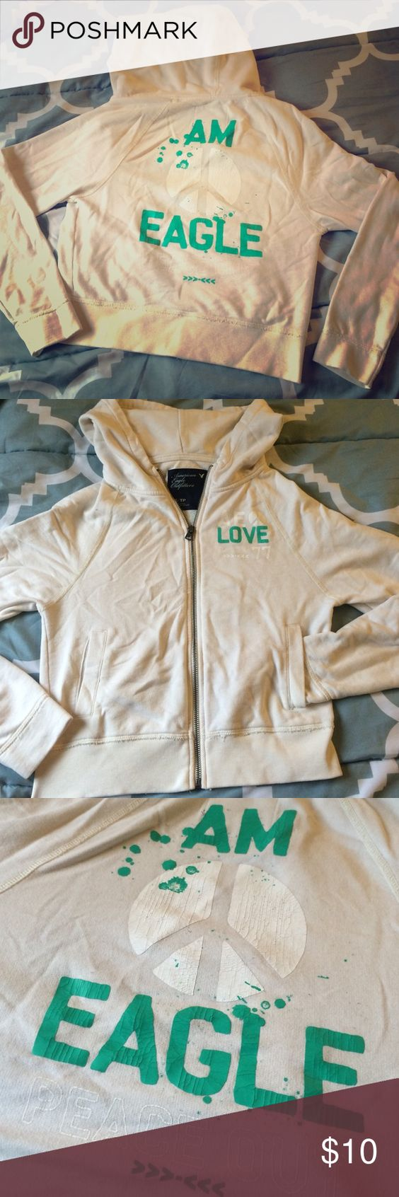 American Eagle zip up Cream colored hoodie American Eagle cream/off-white colored zip-up hoodie. Size XS, previously used. Front pockets. American Eagle Outfitters Tops Sweatshirts & Hoodies