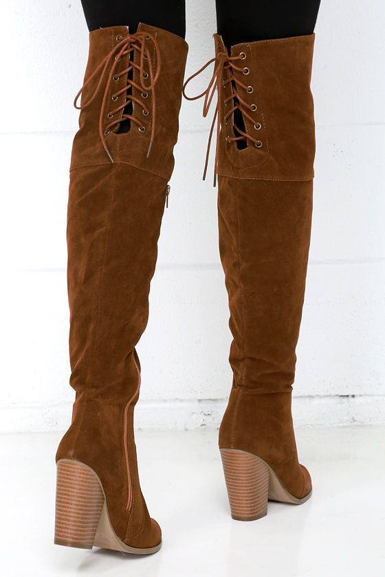 Mountain Crest Tan Suede Over the Knee Boots | The o'jays, Crests ...