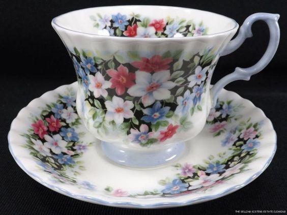 SL10 ROYAL ALBERT CLEMATIS FRAGRANCE SERIES TEA CUP AND SAUCER | eBay