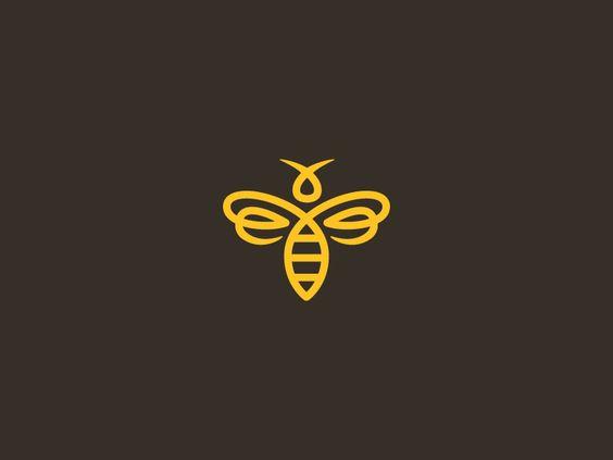 Bee icon logo logo design art design pinterest for Tattoo style logo design