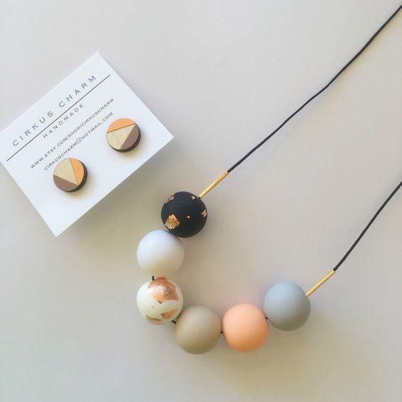 NEW Handmade Polymer Clay Beads Necklace  Hand by CirkusCharm