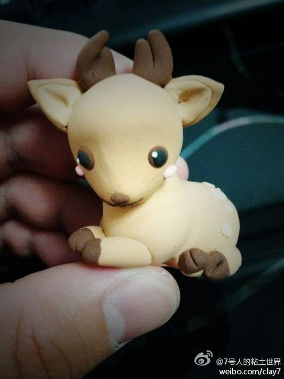 Polymer clay baby deer fawn so cute kourtney for Cute things to make out of clay