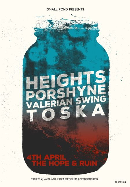 Gig poster by Or8 Design for Height's Brighton show