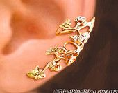 Art Nouveau Stream flower ear cuff Gold earrings leaf ear cuff art nouveau ear cuff Bridal jewelry clip earrings Left Right Pair C-064G