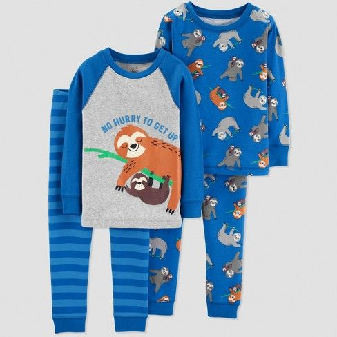 Baby Boys 4pc Sloth Pajama Set Just One You Made By Carter S Blue Target Kids Outfits Toddler Boy Outfits Boys Sleepwear