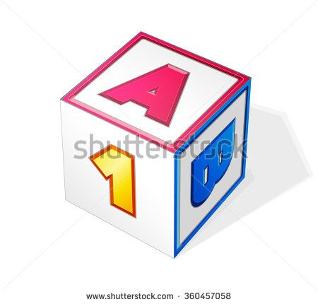 vector AB1 Block CUBE illustration isolated on transparent background - stock vector