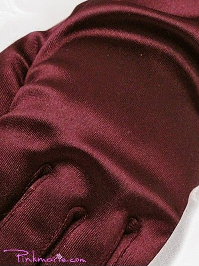 Burgundy Satin Wrist Gloves