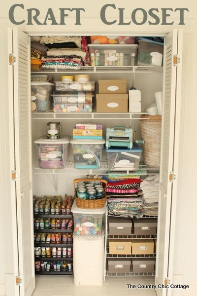 Organized Craft Closet -- turn any under utilized closet in your home into a fabulous craft closet with these tips and tricks.: