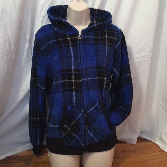 Plaid Blue Jacket New without tags Derek Heart blue with black n white plaid comfy fuzzy zip up with hood n star charm on zipper. This might be a juniors size cause it says XL. But I wear it so I'm gonna say it's like a woman's small Derek Heart Jackets & Coats