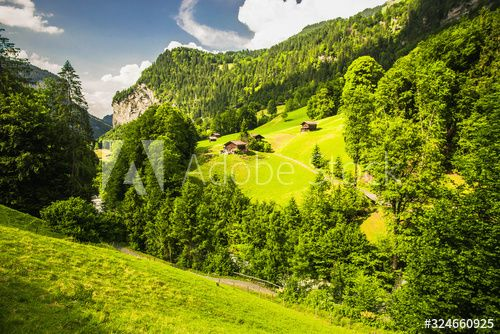 Beautiful Mountain Vibrant Landscape Green Spring Nature Background Fabulous Nature Wallpaper Swiss Panora In 2020 Spring Landscape Nature Backgrounds Spring Nature