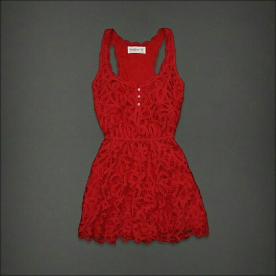 Abercrombie & Fitch Red Lace dress M/L Red Lace Dreds NWT FIRM Price!! Abercrombie & Fitch Dresses