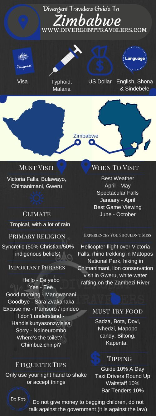 Divergent Travelers Travel Guide, With Tips And Hints To Zimbabwe . This is your ultimate travel cheat sheet to Zimbabwe, Africa. Click to see our full Zimbabwe Travel Guide from the Divergent Travelers Adventure Travel Blog and also read about all of the different adventures you can have in Zimbabwe Africa at http://www.divergenttravelers.com/destinations/zimbabwe/