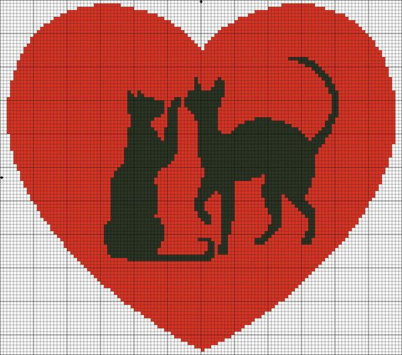 Cross stitch cats in heart