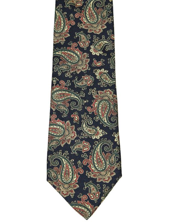 Vintage 90s Blue Paisley Print All Silk Necktie Made in USA $30.00
