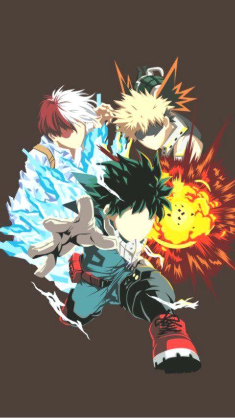 Deku Todoroki Und Bakugo Bakugo Deku Todoroki Und Hero Wallpaper Anime Wallpaper My Hero