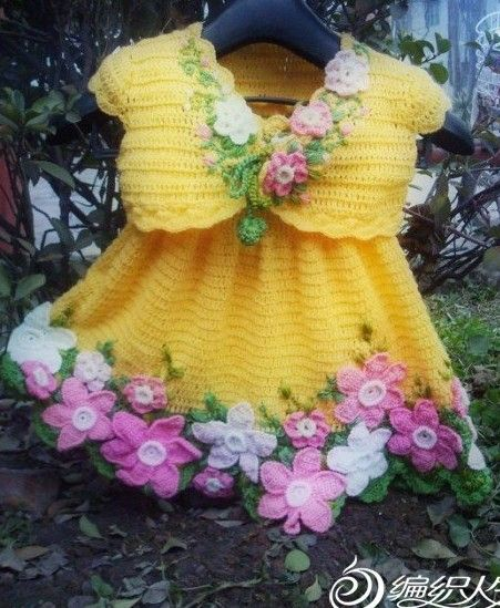 Dress and Bolero Decorated with Flowers free crochet graph pattern