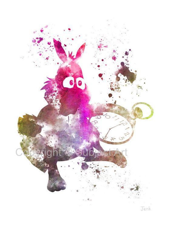 Alicia en el país de las maravillas, Ilustración blanco conejo arte imprimir, Disney, fantasía, técnica mixta, Home Decor, guardería, Kid