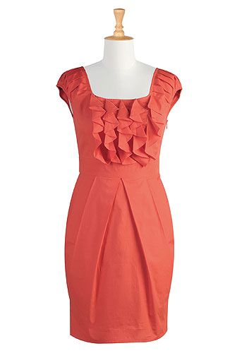 Ruffled cotton sheath dress, I love the color and the look of this dress, while this may not work well on everyBODY, with the right undergraments, it could work.