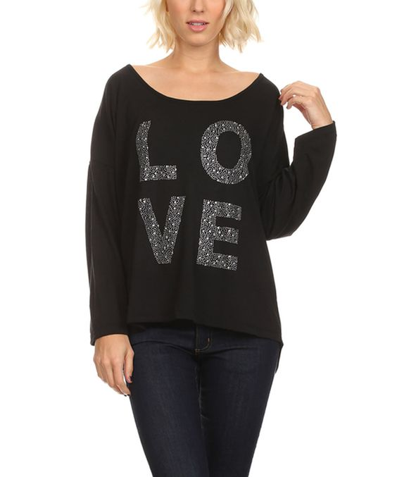 Karen T. Design Black Embellished 'Love' Hi-Low Button-Back Top - Plus by Karen T. Design #zulily #zulilyfinds