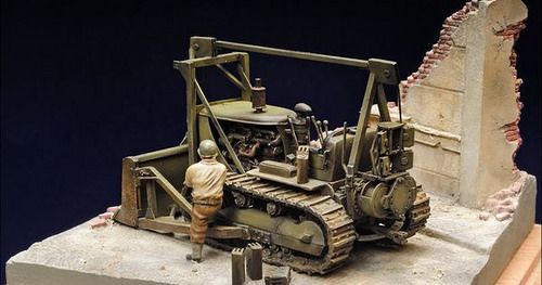 Caterpillar D7 Bulldozer with LeTorneau Power Control Unit (1/72) built by Karl Pesek by Lance Negley