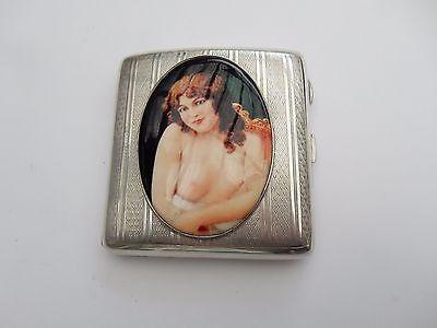 Antique Sterling Silver & Enamel Lady Cigarette Case Henry Matthews 1923