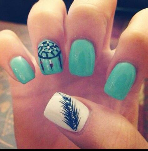 Shellac Nail Design Ideas shellac nail designs picture hh5 Dreamcatcher And Feather Accent Shellac Nails