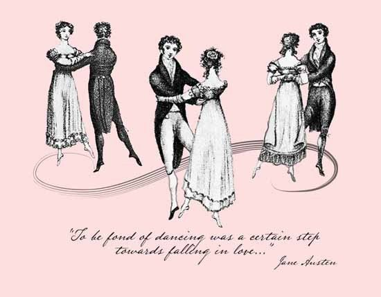 """To be fond of dancing was a certain steep towards falling in love."":"